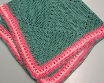 Crochet Baby Blanket ~ Mint meets Pink Blanket ~ Nursery ~ Girl Solid Granny Squares ~ Baby Shower Gift Present ~ Ready to Ship
