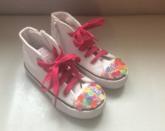 Customised childrens button boots size 8