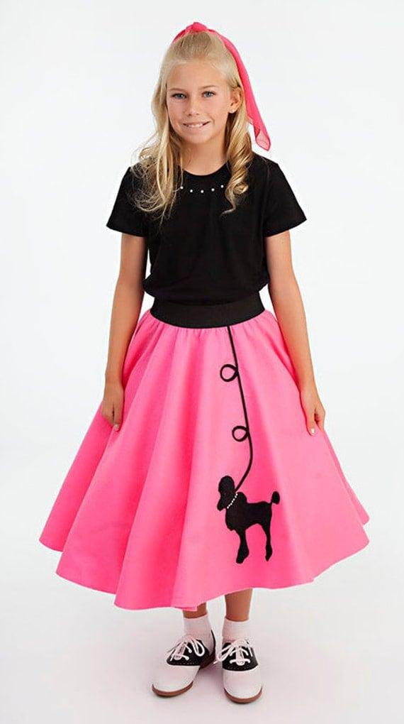 Girls 4 pc set 50 s poodle skirt scarf black slip and black t