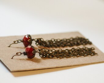Red Crystal Chain Tassle Long Earrings Faceted Bead Fringe Brass Flower Cap Lightweight