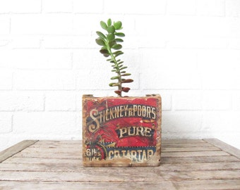 Antique Wood Advertising Box - Vintage Stickney & Poor's Pure Cream of Tartar - Dovetail Wooden Spice Box - Red Victorian Display Box