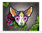 """SALE Regularly 14.95 - Chihuahua in Moo - Day of the Dead Sugar Skull Dog 8"""" x 10"""" Art Print"""