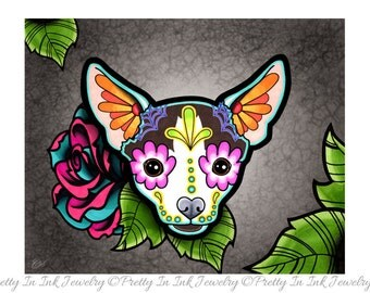 Day of the Dead Chihuahua in Moo - Sugar Skull Dog Art Print 8 x 10 - Prints for Pits Rescue Donation