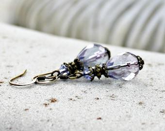 Indigo Purple Lustre Drop Earrings, Petite, Bohemian Czech Glass, Antique Brass, Tanzanite Purple Crystal, Gift for Her