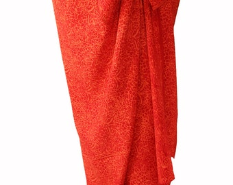 Beach Sarong Wrap Skirt Women's Swimsuit Cover Up Batik Pareo Red & Orange Batik Sarong Skirt Womens Swimwear - Colorful Beach Skirt - Gift