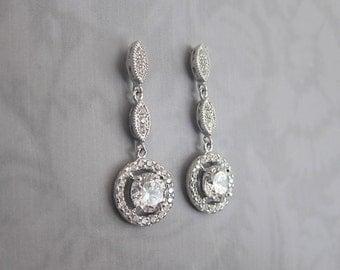 """Vintage Stye Crystal Bridal Earrings, Saphire Wedding earrings, Bridal Dangle Earrings, Vintage Style 1920s Crystal Earrings - """"FIONA"""""""