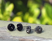 8mm Black and Dark Silver Metallic Glitter Studs, Faux Druzy Earrings Set of 2, Titanium or Stainless Steel Posts