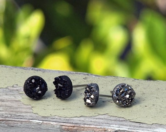Glitter Studs, Faux Druzy Earrings Set of 2 Black and Dark Silver Metallic, Titanium or Stainless Steel Posts