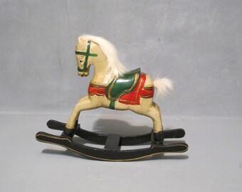 Vintage Hand Carved Wood Rocking Horse Sculpture / Wooden Toy Nursery Classic, Children Room Decor Equestrian Pony Mini Rocker Shelf Display