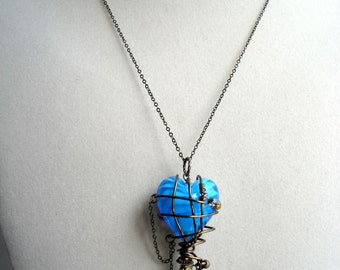 Steampunk Gadget Captured Blue Heart Wire Wrapped Pendant Necklace