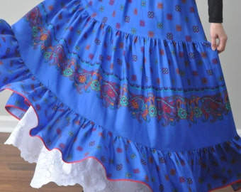 Royal BlueTiered Ruffle Cotton Long Skirt, Gypsy Skirt, Bohemian skirt, Super Twirly, Plus Size, S M L XL XXL XXXL
