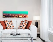Los Angeles Skyline Canvas Large Abstract Canvas Wall Art, Teal Orange Canvas, 16x20 Canvas, LA Skyline Canvas, Wall Art Canvas Los Angeles