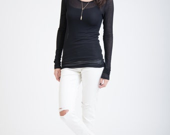 Long Sleeve Blouse / Fitted Top / Black Casual Top / Party Top with Extra Long Sleeves / marcellamoda - MB289