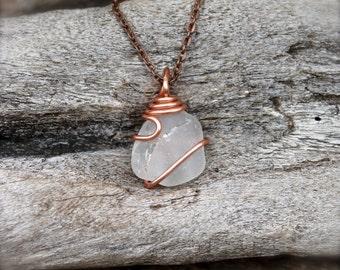 Sea Glass Necklace by Mermaid Tears - Hawaiian Jewelry - Wire Wrapped Seaglass Jewelry from Hawaii - Mermaid Necklace - Beach Glass Jewelry