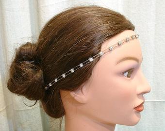 ANTIQUE Art Deco Bridal HeadBand Downton Abbey Great Gatsby Wedding Hairpiece Rhinestone Bohemian Forehead Head Band Vintage 1920 Chain Halo