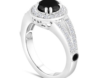 Fancy Black Diamond Engagement Ring 1.61 Carat 14k White Gold Unique Pave Halo Handmade Certified