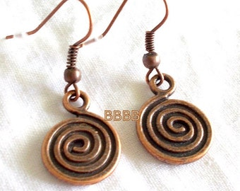 Antique Copper Spiral Earrings - Surgical Steel French Hooks Option