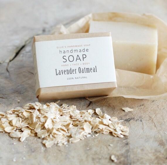 LAVENDER OATMEAL - Ellie's Handmade Soap - 100% Natural + Cold Process Olive Oil Soap