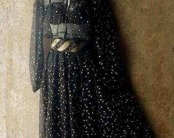 60s Black Sheer Dress Romantic Boho Peasant Prairie Dress. Sheer Gypsy Lace Ribbons Ruffles. Victorian