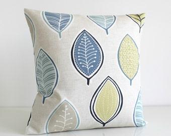 Decorative Pillow, Accent Pillows, Cushion Cover, 16 Inch Pillow Cover, 16x16 Pillow Cover, Throw Pillows, Pillow Sham - Modern Leaves Blue