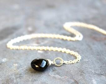 Black Spinel Necklace Sterling Silver Black Gemstone Jewelry Subtle Simple Pendant drop