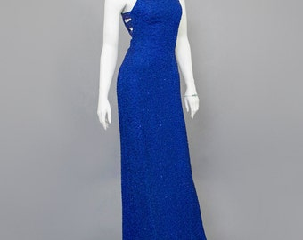 Vintage 90s Evening Gown Sequin Beaded Dress Royal Blue Silk Dress Wiggle Cut Out Open Back Long Formal Dress 1990s Cocktail Dress