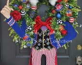 "PRE-Order ""2017"" Delivery-Patriotic July 4th Wreath-Uncle Sam-MASSIVE 56""-Petals & Plumes Original Design-1 Available for 2017"
