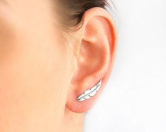 Feather earring, silver leaf, silver feather, feather jewelry, ear climber, nickel free, hypoallergenic, unique earring, titanium earrings