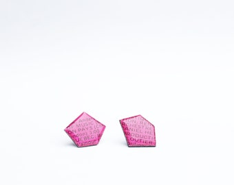 geometric studs hot pink stud earrings eco-friendly studs vinyl record studs upcycled jewelry unique post earrings resin studs funky studs