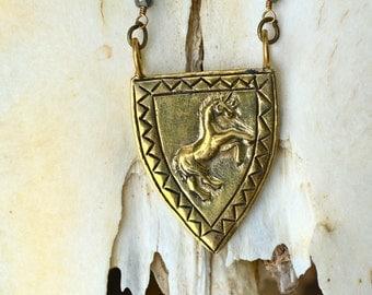 Enchated Unicorn Necklace| Heart Majestic| Unicorn Jewelry| Unicorn Necklace| Sheild Necklace| Pyrite Necklace| Unicorn Gifts| Unicorn