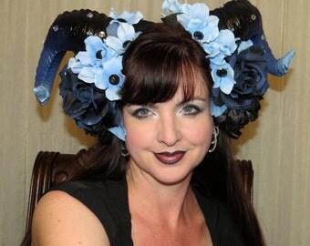 DEMON of DAWN Blue and Black Devil Horns Headdress Hair Adornment ooak