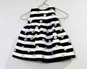 Toddler Dress 12-18m, 18-24m, or 2T Black White Stripes with Gold Dots