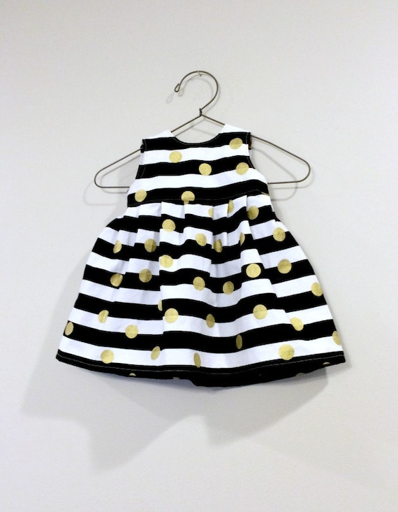 Baby Dress 0-3m 3-6m or 6-12m Black White Stripes with Gold