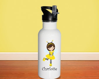 Honey Bee Kids Water Bottle -Honey Bee Girl with Name, Child Personalized Stainless Steel Bottle BPA Free Back to School