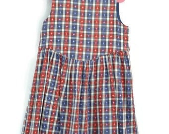 Girls Dress,  Girls Vintage Dress, Girls Pinafore Dress, Age 5 Dress, Girls Jumper Dress