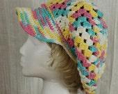 Womens newsboy hat Slouchy crocheted beret Brimmed Beanie Hat with visor Summer Womens Accessories Crocheted hat Beach Visor cap