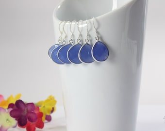 10 Bridesmaid Blue Gemstone Earrings, Bridesmaid Earrings, Bridesmaid Gift, Sterling Silver, Chalcedony Earrings, Teardrop, Heart