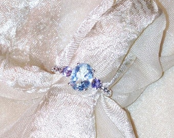 Swiss Blue Topaz & Iolite Ring or Engagement Ring in Platinum Handmade Jewellery by NorthCoastCottage Jewelry Design