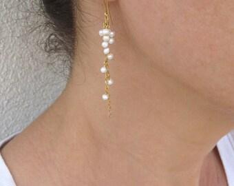 Long pearl earrings, Pearl cluster earrings, Gold and pearl earrings, June birthstone