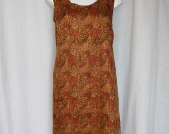"Gold Sari silk dress shift dress paisley print loose fit slip on  mid calf length lined all season wear bust 38"" size Medium"