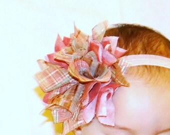 SHABBY CHIC Headband, Baby Headband, Pink Baby Headband