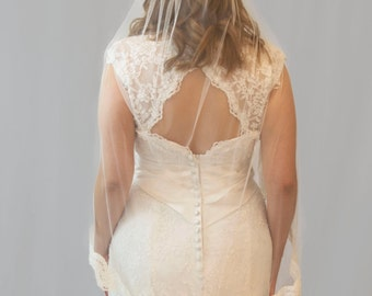 Couture bridal veil, lace veil, 3/4 length, corded lace , Josephine