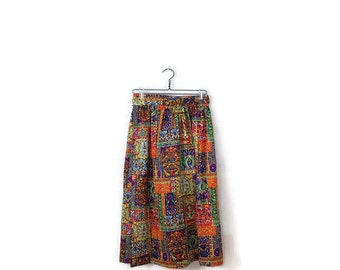 Vintage Colorful Floral/ Patchwork Wrap Long Skirt  from 1970's*