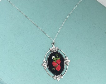 Strawberry Pendant - hand embroidered, strawberry, summer, necklace