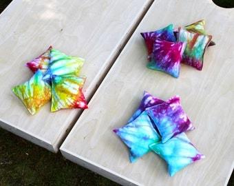 Cornhole Bags, Tie Dye Cornhole Bags, Hand Dyed, Set of 4