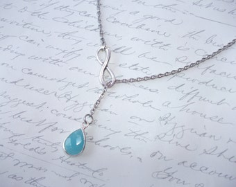 Turquoise drop lariat necklace with infinity symbol
