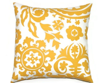 Yellow Suzani Pillow Cover, 18x18 Pillow Cover, Decorative Pillows, Modern Accent Designer Pillow Covers, Suzani Corn Yellow Slub