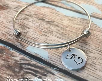 ALL 50 STATES ~ Michigan Bangle Bracelet ~ Stamped ~ Silver Bangle Charm Bracelet ~ Ohio ~ California Jewelry - Adjustable Texas State Pride
