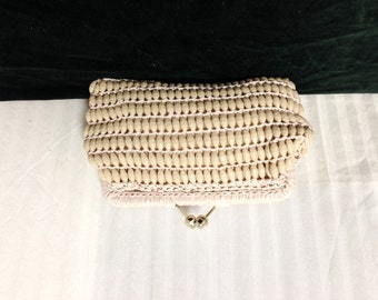 Marcus Brothers,Beaded clutch,Made in Italy ,Clutch, Purse ,Mint Condition ,tan,Beaded