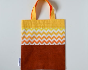 Small Book Bag in Yellows and Oranges, 100% Cotton; BG009